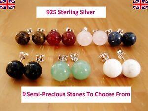 925-Sterling-Silver-Semi-Precious-Gemstones-Round-Stud-Earrings-7-8mm-Size
