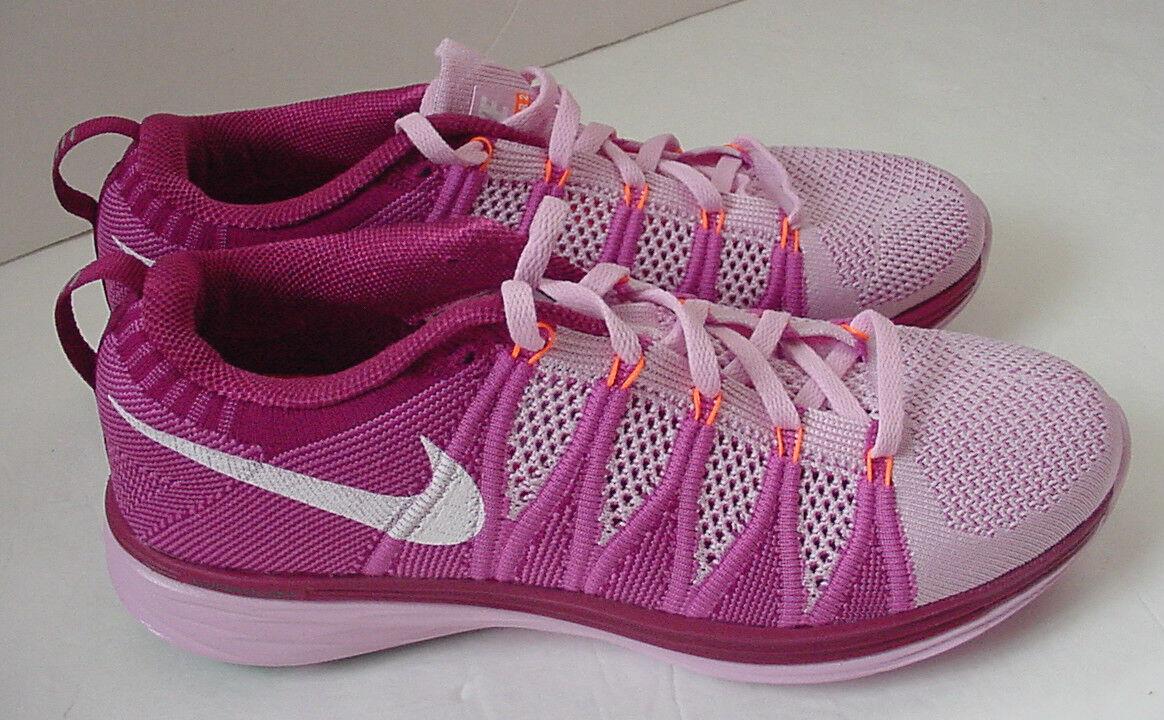 Neu in Box Nolid Nike Flyknit Lunar2 Laufschuhe 620658-615 Rosa Damen Sz 10