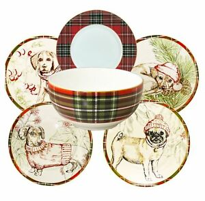 Image is loading Wexford-Puppies-Porcelain-Christmas-Holiday-Dinnerware -Set-12-  sc 1 st  eBay & Wexford Puppies Porcelain Christmas Holiday Dinnerware Set (12 pc ...