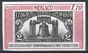 "MONACO YVERT TELLIER 1055 "" USA INDEPENDENCE BELL 1976 IMPERF "" MNH VVF M228"
