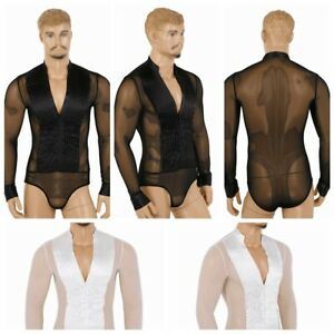 Men-039-s-Long-Sleeve-Latin-Ballroom-Dance-Leotard-Bodysuit-Tops-Competition-Shirt