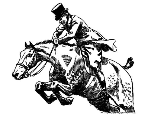 """2.5/""""x3/"""" Horse Jumping FLONZ vintage acrylic rubber stamps Clear stamp"""