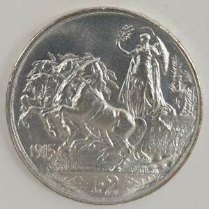1915-Royaume-D-039-Italie-Monnaie-Livres-2-Quadriga-Spiced-Vitt-Em-III-Argent
