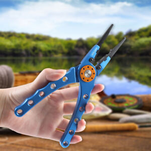 Fishing-Pliers-H2-Aluminum-7-8in-Fish-Tackle-with-Nylon-Sheath-amp-Secure-Lanyard
