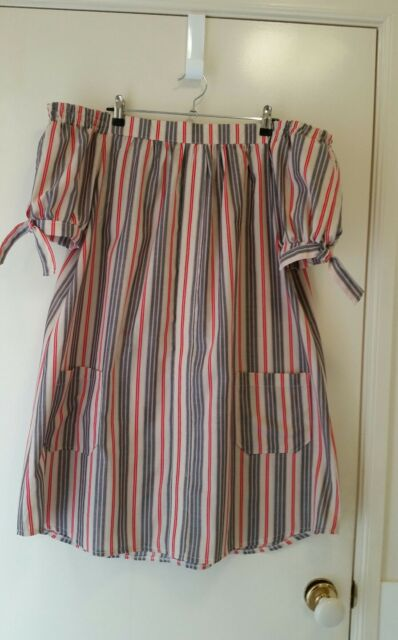 NEW Off shoulder pin stripe dress size 14
