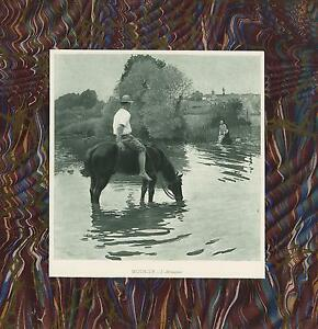ANTIQUE-COWBOY-COUNTRY-POND-HORSE-DRINKING-WOMAN-WASHING-LAUNDRY-AESTHETIC-PRINT