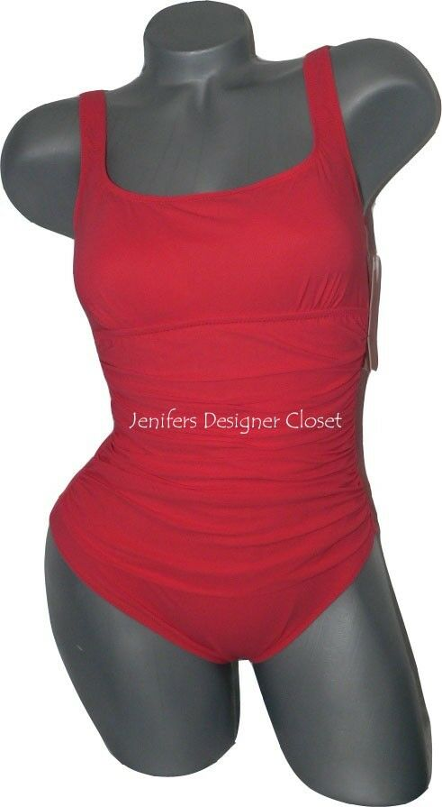 NWT GOTTEX swimsuit 6 coral ruched sides tummy control slimming sexy tank
