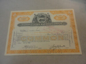 1962-Illinois-Central-Railroad-Company-Stock-Certificate-CC20416-100-Shares