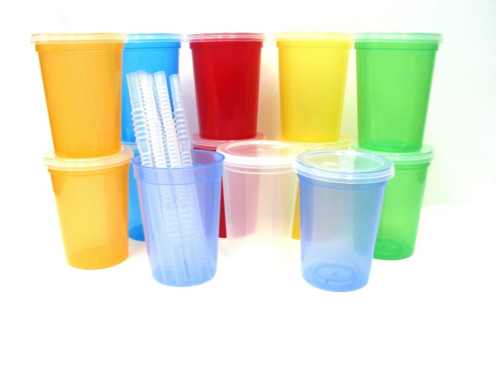 50- 50- 50- Small 12 Oz Kids Translucent Cups Glasses Lids Straws Mfg USA Lead Free d43207