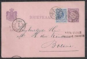 Netherlands covers 1882 uprated PC NED-INDIË FRANSCHE PAKKETB