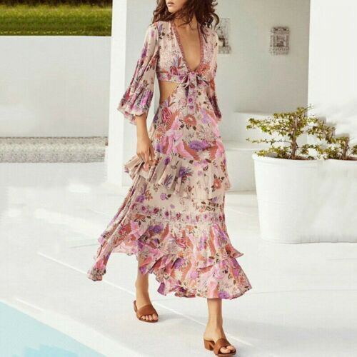 Pf 2019 Damen Designer Inspiriert Luxus Blumenmuster Schlaghose Ärmel Rüschen