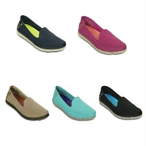 NEW-Womens-Crocs-Stretch-Sole-Skimmer-Flat-Slip-Ons-Loafers-Canvas-Shoes-5-6-7