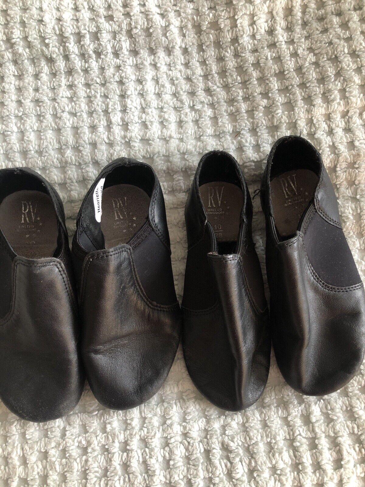 roch valley split sole jazz shoes black slip on size 10 x2 twins