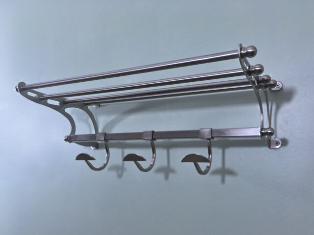 Paris Hotel Style Towel Rack Shelf W Hooks 26 Overall In Brushed