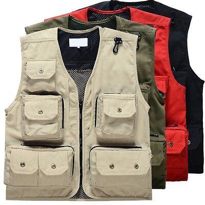12 Pockets Fishing Vest Photo Waistcoat Mesh Detachable Back Hunting Vest Canvas