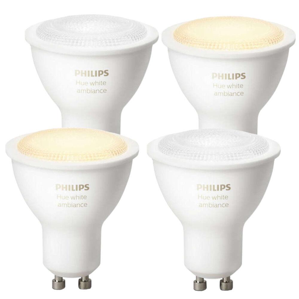 Philips Hue 4er Set Weiß Ambiance LED GU10 5,5W   ZigBee Echo Alexa kompatibel
