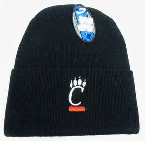CINCINNATI-BEARCATS-BLACK-NCAA-BEANIE-TOP-OF-THE-WORLD-SIMPLE-KNIT-CAP-HAT-NWT