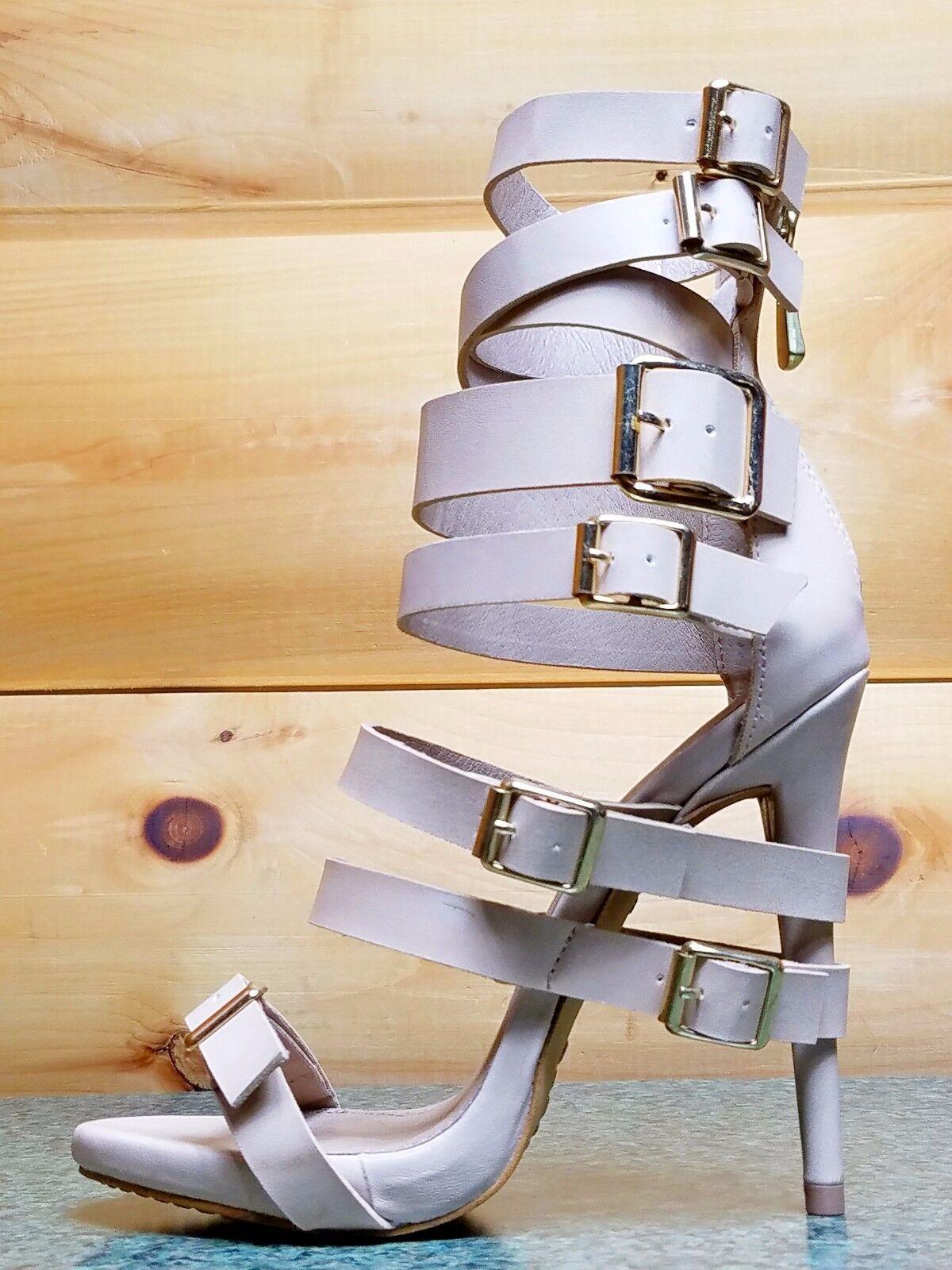 Zigi NY Iconic Nude Leder Multiple Buckle Straps 5