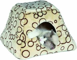 Bubbles-Cushy-Cave-Bed-Cat-or-Small-Dog-44-x-28-x-42-cm-Beige