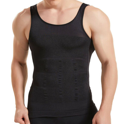 Mens Ultra Tummy Compression Vest Body Slimming Chest Moobs Breathable Tank Top