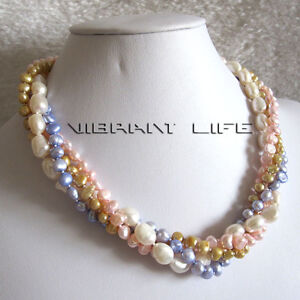 """18"""" 4-9mm 4Row Baroque Freshwater Pearl Necklace White Pink Blue Champagne UE"""