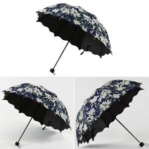 eafdc8012 Women Umbrella Ladies Lily Fold Arched Leaf Edge Windproof Sun Rain ...