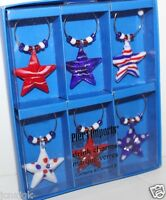 Pier 1 Imports Americana Stars Drink Charms Set Of 6 Red White Blue July 4