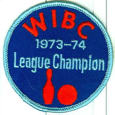 """1973-74 WIBC LEAGUE CHAMPION"" EMBROIDERED MULTI-COLORED TEN-PIN BOWLING PATCH"