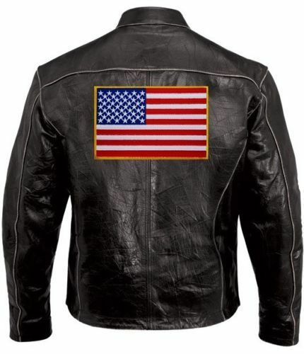 """AMERICAN FLAG 11/"""" Tactical Morale MOTORCYCLE VEST BIKER PATCH GOLD EDGES IRON-ON"""