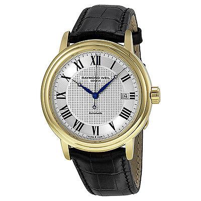 Raymond Weil Maestro Silver Dial Black Leather Mens Watch 2837-PC-00659