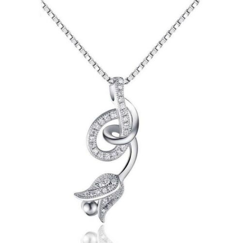 """18/"""" Chain Sterling Silver Topaz Zirconia Rose Flower Pendant Necklace Gift L30"""