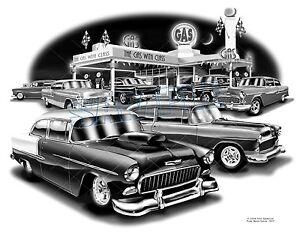 Chevy 55 Blower Belair Classic Car Auto Art Print Free Usa Shipping Ebay