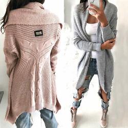 Strickjacke Damen Asymmetrisch Pullover Strickmantel Pulli NEU 36 38 40