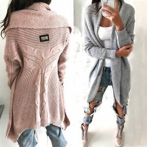 Strickjacke-Damen-Asymmetrisch-Pullover-Strickmantel-Pulli-NEU-36-38-40