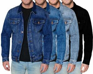 Men-039-s-Red-Label-Premium-Denim-scolorita-Cotone-Jean-bottoni-nella-giacca-Slim-Fit