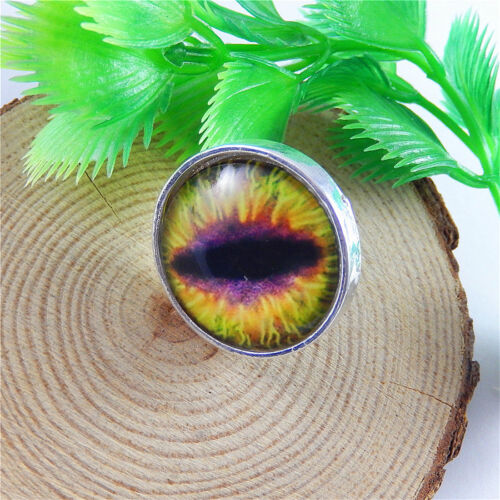 5 Colors Vintage Dragon Eyes Rings Cabochon Glass Rings Adjustable Rings Gifts