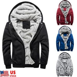 Plus-Size-Men-039-s-Winter-Hooded-Coat-thick-Fur-Lined-Zip-Hoodie-Jacket-Sweatshirt