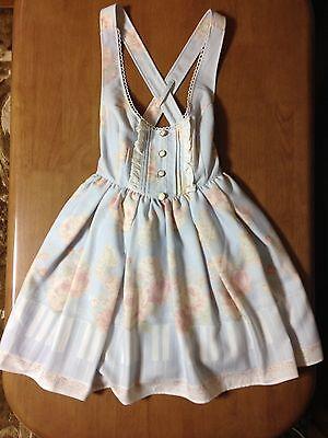 LIZ LISA Blue Jumper Skirt Pinafore Dress Piano Keyboard Instrumental Motifs