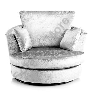 large swivel round cuddle chair crushed velvet fabric cream silver