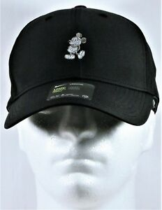 Disney Parks Exclusive Mickey Black Nike Dri Fit Golf Cap Hat White ... 1374f905bb6