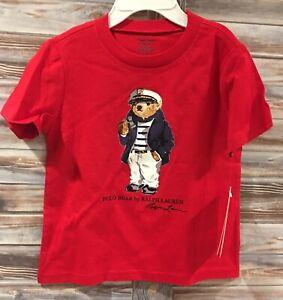 Ralph-Lauren-Nautical-Polo-Bear-T-Shirt-Red-24-Months-Boy-Girl-Toddler-NEW