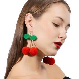 Kirsche-Pom-Ball-Drops-Ohrringe-Schmuck-Frauen-baumeln-Ohrringe-Rot-Kirsche-I7U5