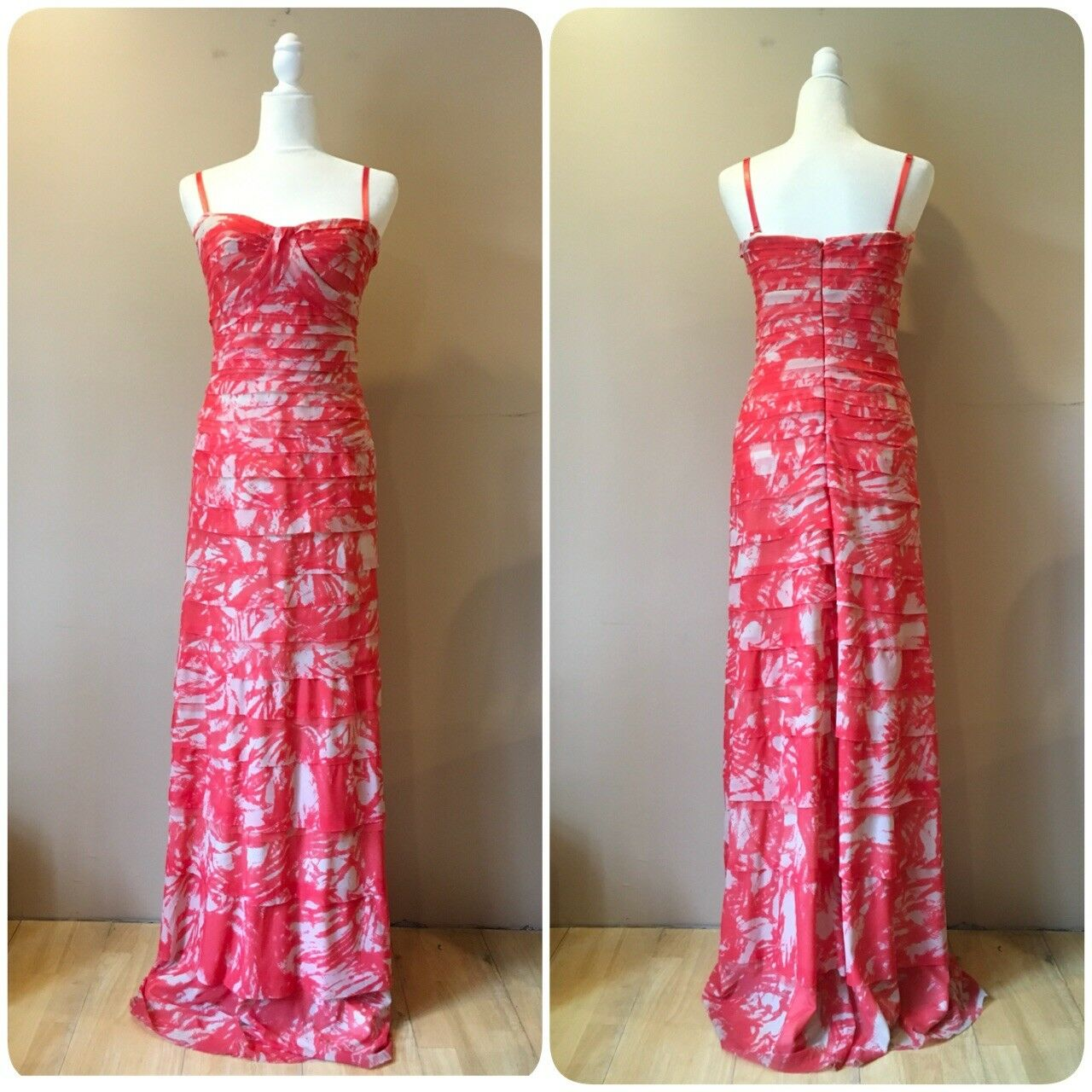 BCBGmaxzria Size 8 Layer Maxi Dress Coral Casual Summer Beach