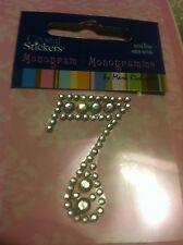#7 Number Seven Clear Diamond Rhinestone Gemstone Scrapbooking Sticker