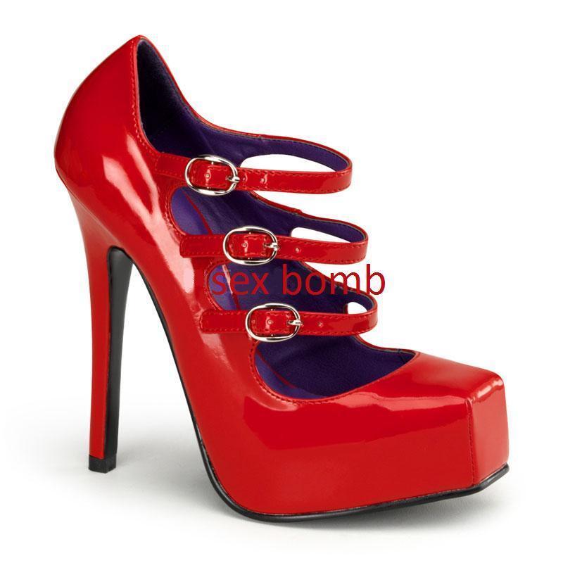SEXY scarpe decolte rosse plateau invisibile tacco al 14 dal n. 36