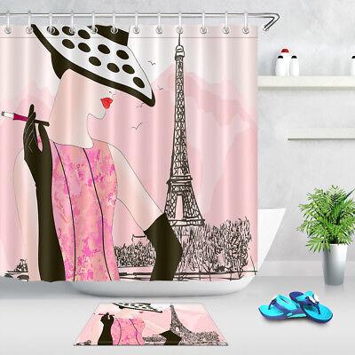Waterproof Fabric Shower Curtain Set Ancient Egyptian Women Bathroom Hooks