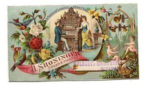 Victorian-Trade-Card-B-SHONINGER-ORGAN-amp-PIANO-Hulberts-Music-Store-Scranton-PA