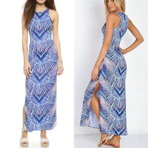fe82ec5cb84 Details about  395 Mara Hoffman Swim Women s Medium Blue Stretchy Scuba  Rising Palm Maxi Dress