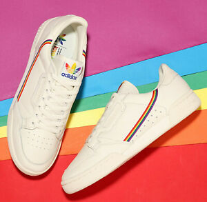Details about Mens adidas Originals Continental 80 Pride rainbow trainers  off white UK 8 LGBT