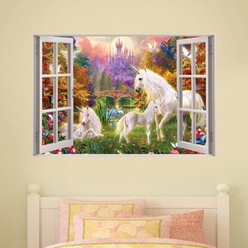 Unicorno Muro Decalcomania Castello Finestra Camera Adesivo Arte Muraria Bambini